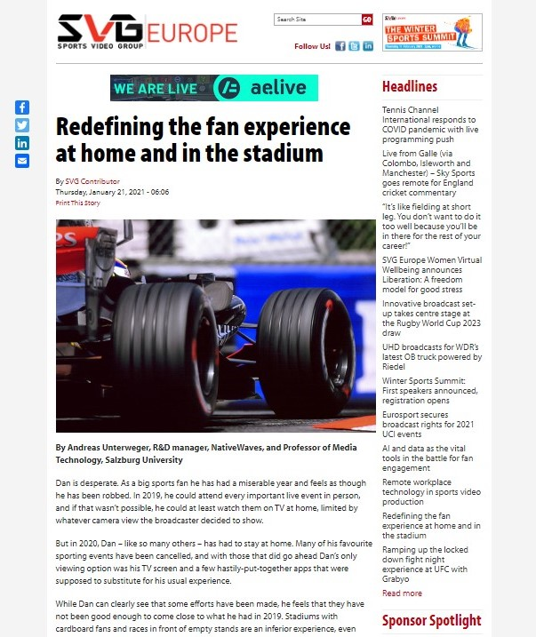 NativeWaves appears on SVGeurope.org - article about Redefining the fan experience at home and in the stadium