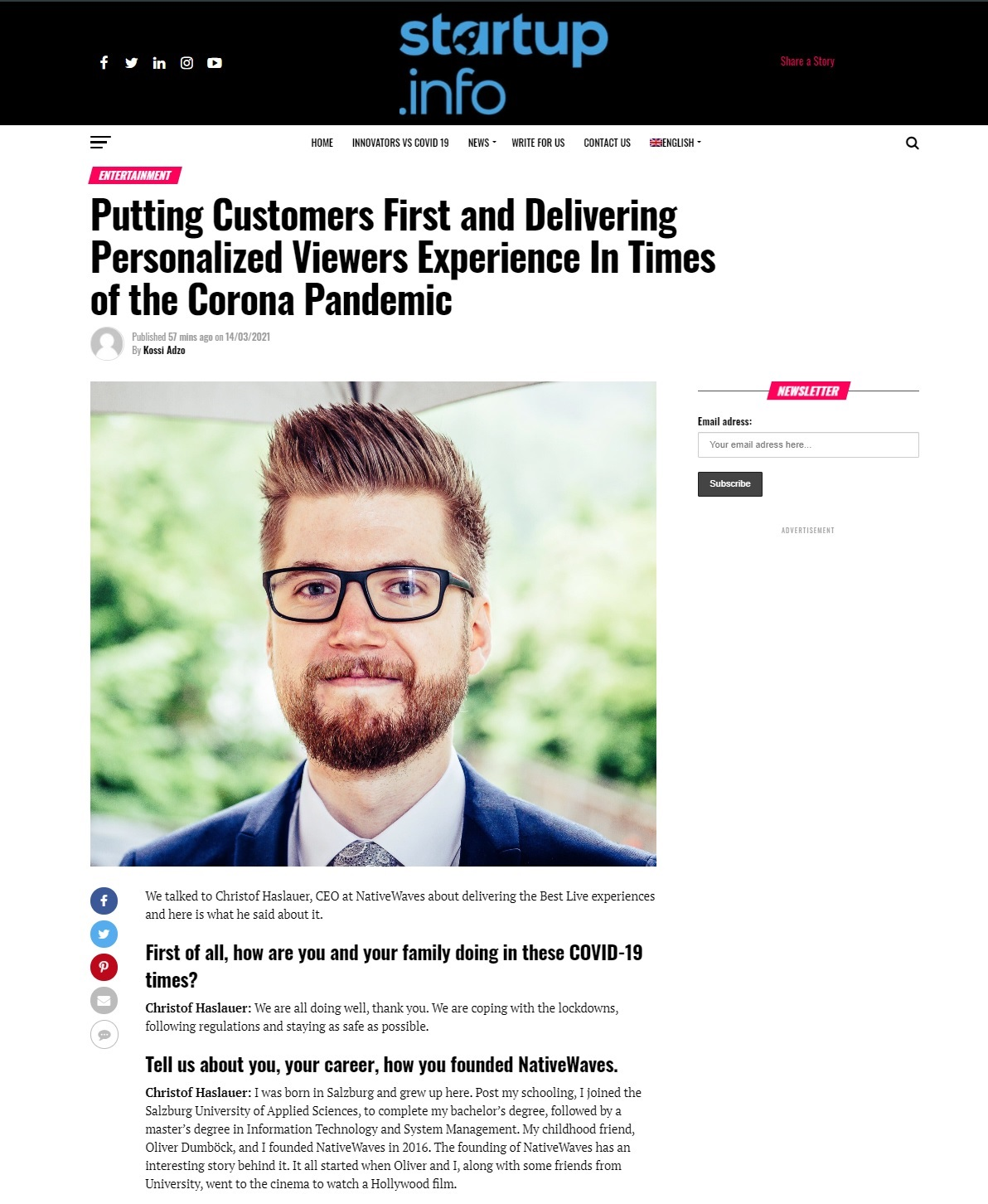 NativeWaves appears on Startup.info - article about Putting customers first and delivering personalized viewers experience in times of the Corona pandemic